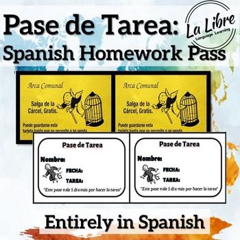 Homework Pass for Spanish-Pase de Tarea