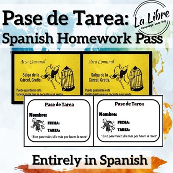 Homework Pass for Spanish-Pase de Tarea