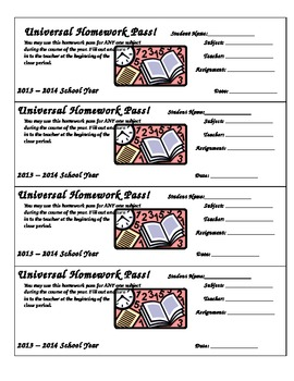 Homework Pass Template