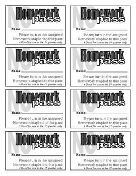 Homework Pass Template By Allens Classroom Teachers Pay Teachers