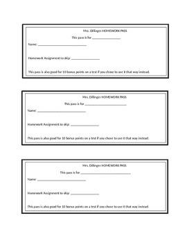 Homework Pass Template