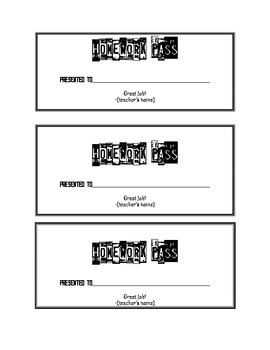 Homework Pass Templates