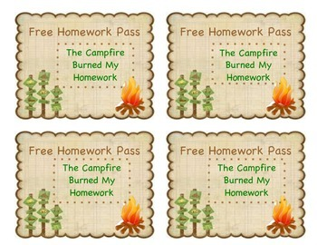 Homework Pass- camping theme