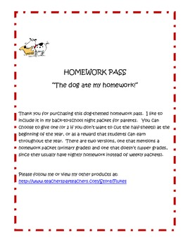 Homework Pass (dog theme)