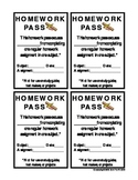 Homework Pass for Elementary & Middle School