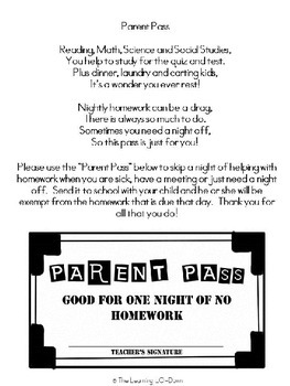 Homework Pass for Parents!  Perfect for Parent Teacher Conferences