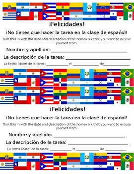Homework Pass for Spanish Class (Pase de tarea para la clase de español)