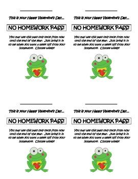 Homework Pass for Valentine's Day