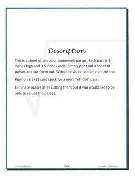 Homework Passes (3.5 x 2 inch 10 per sheet)