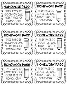 FREEBIE-Homework Passes-Any Grade Level