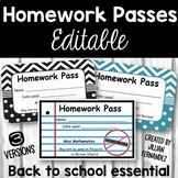 Homework Passes - Black and White
