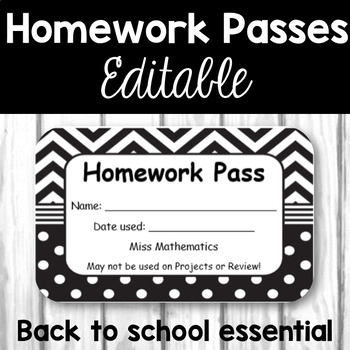 Homework Passes - Black and White