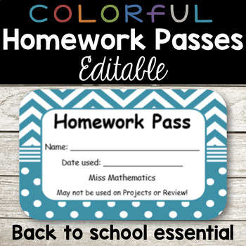 Homework Passes - Colorful