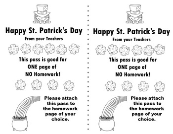 Printable Homework Passes/Coloring Pages