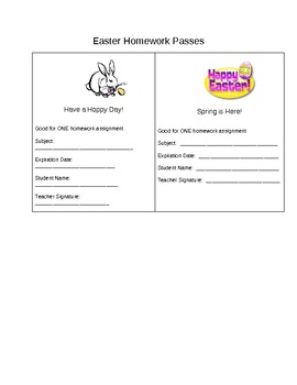 Homework Passes- Easter