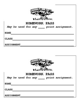 FREE Homework Passes For Any Class