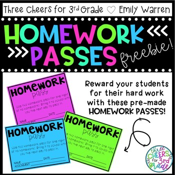Homework Passes Freebie!