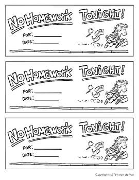 Homework Passes - No Homework Tonight!