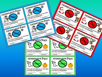 Homework Passes - One for each month