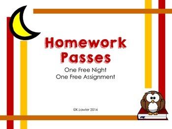 Homework Passes - Owl Theme