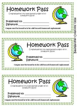Homework Passes- Pack of 20