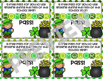 Homework Passes - St. Patrick's Day Theme
