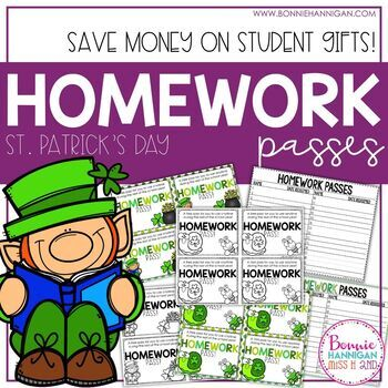 Homework Passes - St. Patrick's Day Theme