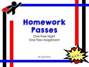 Homework Passes - Super Hero Theme