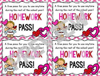 Homework Passes - Valentine's Day Theme