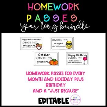 Homework Passes Year Long Bundle EDITABLE