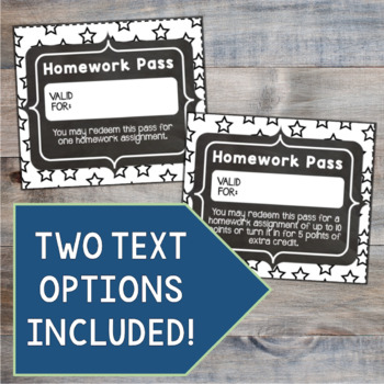 Homework Passes for Middle School Students