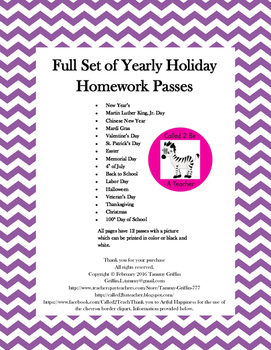 Homework Passes for the Entire Year Plus Birthday Pass