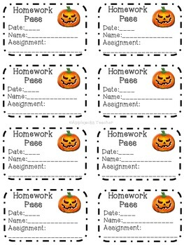 Homework Passes for the School Year