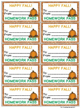 Homework Passes for the Whole YEAR!