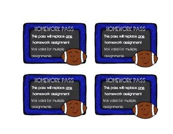 Homework Passes with football theme