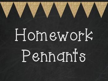Homework Pennants- Burlap and Chalkboard