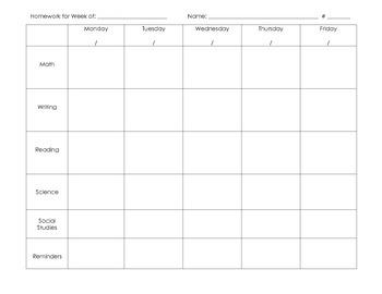 Homework Planner Sheets | Make Your Own Homework Planner or Agenda