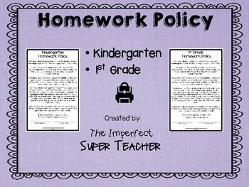 Homework Policy- Kindergarten and 1st Grade