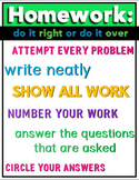 FREE Homework Poster for the Middle School or High School Math Classroom