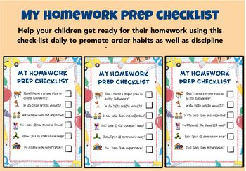Homework Preparation Checklist