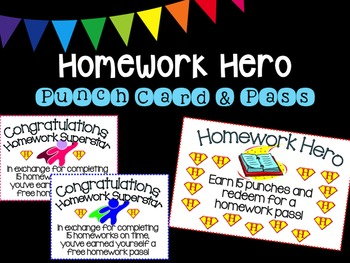 Homework Reward Punch Card and Pass