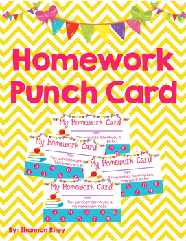 Homework Punch Cards/Homework Pass