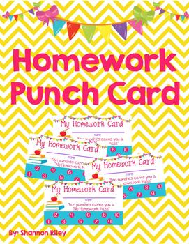Homework Punch Cards/Homework Pass