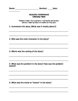 Homework Questions FREEBIE