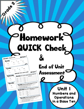 Homework Quick Check- Numbers and Operations in Base Ten