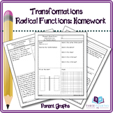 Transformations of Radical (Square Root) Functions: Homework