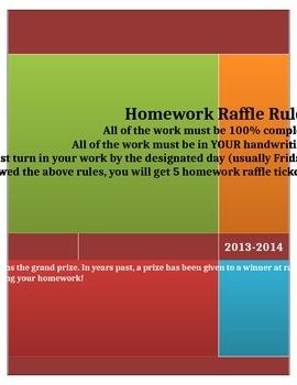 Homework Raffle Poster