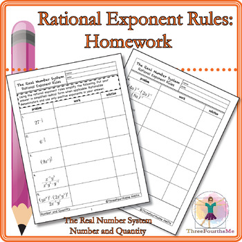 Rational Exponent Rules: Homework