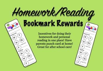 Homework/Reading Bookmark Punchcards