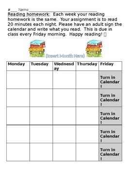 Homework Reading Calendar